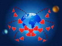 De liefde zal de wereld bewaren. Stock Fotografie