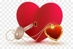 De liefde is zeer belangrijk aan hart van uw geliefd De het rode slot en sleutel van de hartvorm royalty-vrije illustratie