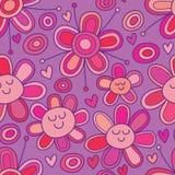 De liefdebeeldverhaal die van de bloemcirkel naadloos patroon trekken stock illustratie