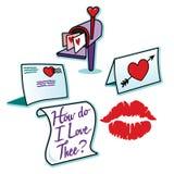 De liefdebrieven van de valentijnskaartendag en het rode teken van de lippenstiftkus Royalty-vrije Stock Foto's