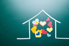 De liefde van de familie en kleurrijke hartvorm Stock Afbeeldingen
