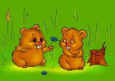 De liefdehamsters van de valentijnskaart Stock Afbeelding