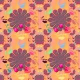 De liefdehand ondertekende de Naadloze feestelijke kleurrijke bloem van het patroonontwerp Stock Afbeelding