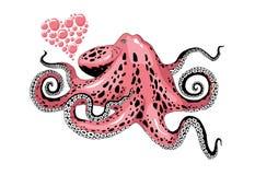 De liefdeillustratie van de beeldverhaal roze die octopus op witte illustratie wordt geïsoleerd als achtergrond stock illustratie