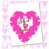 De liefdekaart van de valentijnskaart met harten Stock Foto's