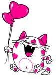 De liefdekaart van de Valentijnskaart van de kat Stock Foto's