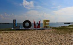 De LIEFDEstructuur van de de zomertijd op de Chesapeake baai in Kaap Charles VA stock afbeeldingen