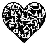 De liefdeyoga stelt Silhouettenhart Stock Afbeelding