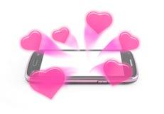 De liefjes slepen van smartphone mee royalty-vrije stock afbeeldingen