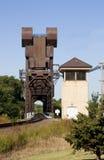 De liftbrug van de spoorweg Stock Foto