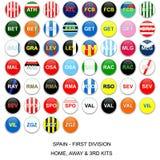 De Liga van de Voetbal van Spanje - de Teams van de Uitrusting Stock Foto