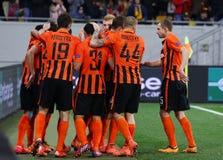 De Ligaspel Shakhtar Donetsk van UEFA Europa versus Anderlecht Royalty-vrije Stock Fotografie