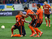 De Ligaspel Shakhtar Donetsk van UEFA Europa versus Anderlecht Stock Foto's