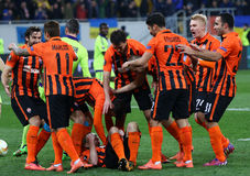 De Ligaspel Shakhtar Donetsk van UEFA Europa versus Anderlecht Royalty-vrije Stock Afbeeldingen