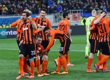 De Ligaspel Shakhtar Donetsk van UEFA Europa versus Anderlecht Royalty-vrije Stock Foto's