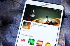 De ligavoetbal app van UEFA europa Royalty-vrije Stock Afbeeldingen