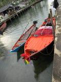 De ligplaats van de boot visserijdorp Stock Foto