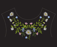 De lijn bloemenpatroon van de borduurwerk etnisch hals met kamilles Stock Foto