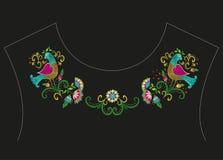 De lijn bloemenpatroon van de borduurwerk kleurrijk etnisch hals Stock Afbeelding