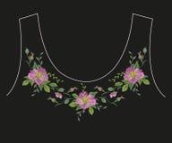 De lijn bloemenpatroon van de borduurwerk romantisch etnisch hals met hond ros Stock Afbeelding
