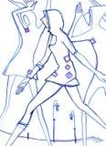 De lijn van de dansstad, Drie mensen danst en loopt stock illustratie