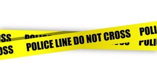 De lijn van de politie kruist niet. Gele band Stock Foto