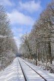 De lijn van de spoorweg in de winter royalty-vrije stock afbeelding