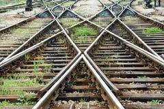 De lijn van de trein kruising Stock Afbeeldingen
