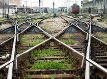 De lijn van de trein kruising Stock Foto