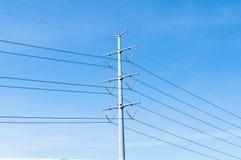 De Lijn van de elektriciteitstransmissie of Pyloon, Hoogspanningsmacht aan RT royalty-vrije stock afbeelding