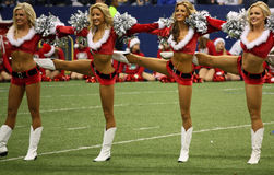 De Lijn van Halftime van Kerstmis van Cheerleaders van cowboys Royalty-vrije Stock Fotografie