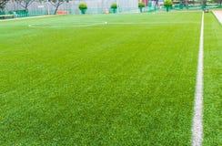 De lijn van het voetbalgebied met kunstmatig gras Royalty-vrije Stock Fotografie