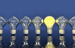 De lijn van zeven lampen, één lamp glanst royalty-vrije illustratie