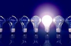 De lijn van zeven lampen, één lamp glanst stock illustratie