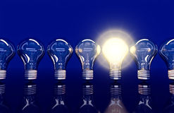 De lijn van zeven lampen, één lamp glanst vector illustratie