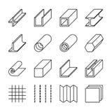 De lijn vectorpictogrammen van metallurgieproducten Stock Foto