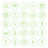 De lijncirkel gaat Groene Geplaatste Milieupictogrammen Royalty-vrije Stock Afbeeldingen