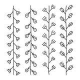 De lijnen overhandigen getrokken ornamentkader vector vastgestelde illustratie Stock Foto's