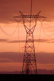 De lijnen van de elektriciteit met zonsonderganghemelen stock fotografie