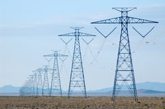 De lijnen van de elektriciteit in woestijn Stock Foto
