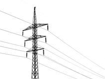 De lijnen van de hoogspanningsmacht en geïsoleerd op wit Stock Afbeeldingen