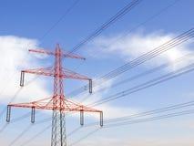 De lijnen van de macht en rode toren Stock Fotografie
