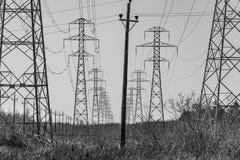 De lijnen van de macht in zwart-wit Stock Afbeelding