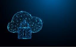 De lijnen van de het pictogramvorm van de wolkenveiligheid en driehoeken, punt verbindend netwerk op blauwe achtergrond stock illustratie