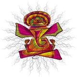 De lijnkunst van Lordganesha voor groetkaart Stock Afbeeldingen