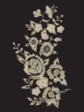 De lijnpatroon van de borduurwerk duidelijk etnisch hals met vereenvoudigde bloem Royalty-vrije Stock Afbeeldingen