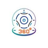de lijnpictogram van de 360 graad panoramisch videocamera, de virtuele illustratie van het het overzichts vectorembleem van het w Stock Foto's