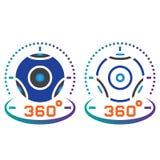 de lijnpictogram van de 360 graad panoramisch videocamera, overzicht en vast lichaam v Royalty-vrije Stock Foto's