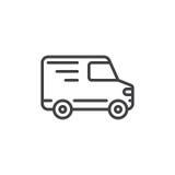 De lijnpictogram van de leveringsvrachtwagen, overzichts vectorteken royalty-vrije illustratie