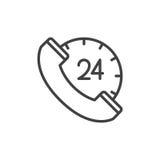 de lijnpictogram van het 24 urencall centre, overzichts vectorteken, lineair die stijlpictogram op wit wordt geïsoleerd Stock Afbeelding